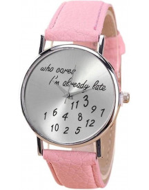 Fako® - Horloge - Who Cares I'm Already Late - Roze afbeelding
