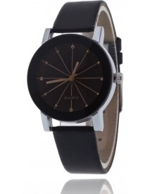 Black Quartz Horloge | Rosegoud & Zwart | Pu Lederen Band | Fashion Favorite afbeelding