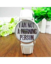 I Am Not A Morning Person Horloge -  Wit afbeelding