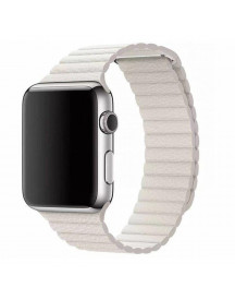 Apple Watch Band Wit Leer -  - Geschikt Voor Alle Apple Watches afbeelding
