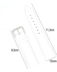 Horlogeband Leer 16mm - Croco Band + Push Pin - Leer Wit afbeelding