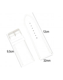 Horlogeband Leer 32mm - Croco Band + Push Pin - Leer Wit - Sarzor afbeelding