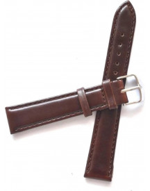 Premium Brown Genuine Leather Strap - Silver Buckle 22mm - Bruin Rund Leer Horlogeband + Luxe Pouch afbeelding