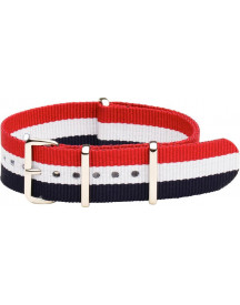 Premium Red White Blue - Nato Strap 16mm - Stripe - Horlogeband Rood Wit Blauw + Luxe Pouch afbeelding