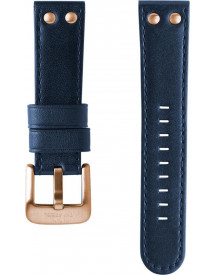 24mm Xl Blue Leather Strap For Pilot afbeelding