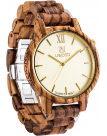 Victorious Bruin Zebrahouten Horloge Wood Collections – Heren Horloge - Dames Horloge – Ø46mm afbeelding