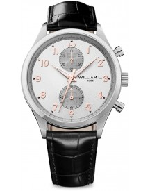 William L. 1985 - Wlac02gocn - Bicolore Small Chronograph - Silver Dial With Black Leather Strap afbeelding