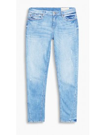 Esprit Bleached Stretchjeans In Used Look Blue Light Washed For Women afbeelding