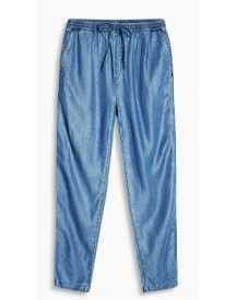 Esprit Broek In Een Denim Look Met Elastiek Blue Medium Washed For Women afbeelding