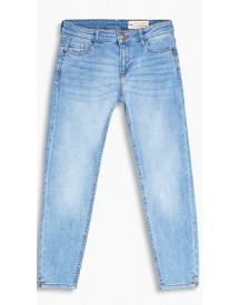 Esprit Cropped Stretchjeans Met Zoomsplitten Blue Light Washed For Women afbeelding