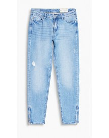 Esprit Enkellange Stretchjeans Met Used Look Blue Light Washed For Women afbeelding