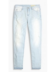 Esprit Gestreepte Stretchjeans Met Rafelige Zomen Blue Light Washed For Women afbeelding