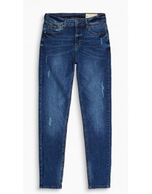 Esprit High-waisted Jeans Met Used Look Blue Medium Washed For Women afbeelding
