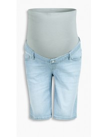 Esprit Elastische Denim Bermuda, Band Over Buik Light Washed For Women afbeelding