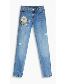 Esprit Jeans Met Borduursel En Destroyed Look Blue Medium Washed For Women afbeelding