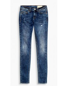 Esprit Smalle Stretchjeans Met Used Look Blue Dark Washed For Women afbeelding