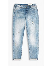 Esprit Stretchjeans Met Een Destroyed Look Blue Medium Washed For Women afbeelding