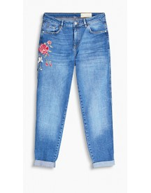 Esprit Stretchjeans Met Gebloemd Borduursel Blue Medium Washed For Women afbeelding