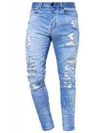 Cayler & Sons Jeans Tapered Fit Distressed Light Blue/white afbeelding