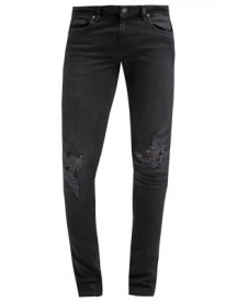 Topman Washed Black Knee Ripped Spray On Skinny Jeans Slim Fit Jeans Black afbeelding