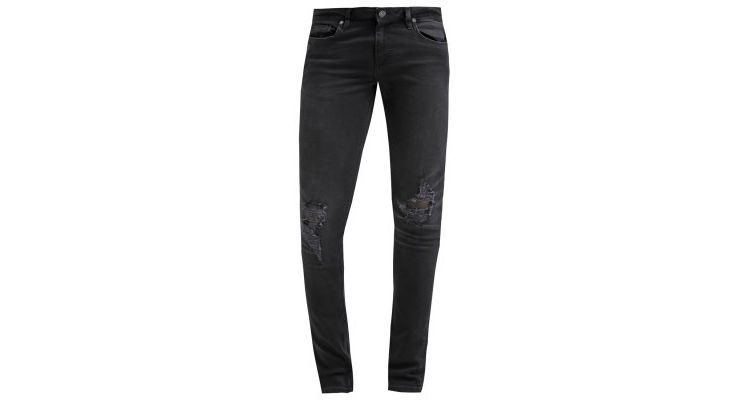 Image Topman Washed Black Knee Ripped Spray On Skinny Jeans Slim Fit Jeans Black