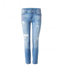 Liu Jo Bottom Up Monroe Slim Fit Jeans Met Verfspetters afbeelding