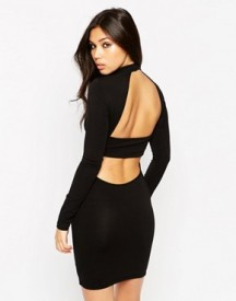 Asos Bodycon Dress With High Neck And Open Strap Back afbeelding