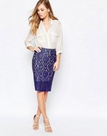 Sisley Bodycon Lace Skirt In Blue afbeelding