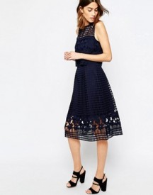 Warehouse Floral Mesh Lace Full Midi Skirt afbeelding