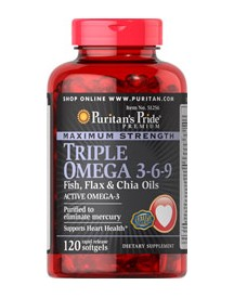Maximum Strength Triple Omega 3-6-9 Fish, Flax & Chia Oils afbeelding