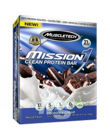 Mission1 Clean Protein Bar - Cookies & Cream - 4 Repen - Muscletech afbeelding