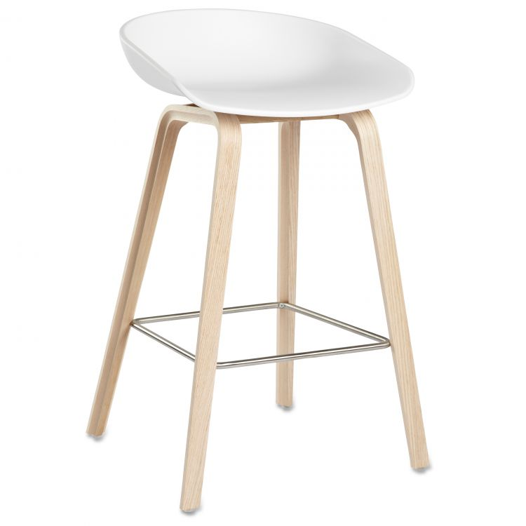 Image Hay About A Stool Aas32 Design Barkruk 65 Cm Wit - Eiken