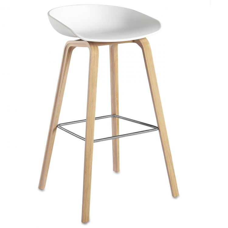 Image Hay About A Stool Aas32 Design Barkruk 75 Cm Wit - Eiken