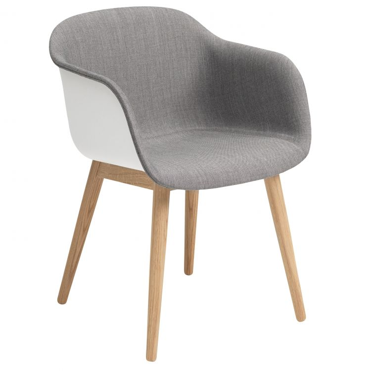 Image Muuto Fiber Wood Front Upholstery Stoel Wit Remix 133