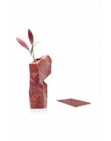 Paper Vase Cover Red Grid afbeelding