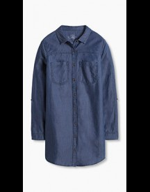 Esprit Lange Blouse Van Zacht Denim Blue Dark Washed For Women afbeelding
