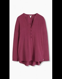 Esprit Soepele Blouse In Henley Stijl Bordeaux Red For Women afbeelding