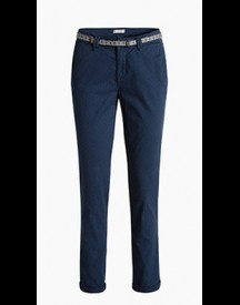 Esprit Stretchchino Met Stippenprint En Riem Navy For Women afbeelding
