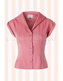 50s Dream Master Short Sleeve Blouse In Dusty Pink afbeelding