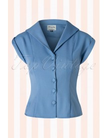 50s Dream Master Short Sleeve Blouse In Misty Blue afbeelding