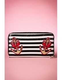 50s Striped Anchor Purse In Black And White afbeelding