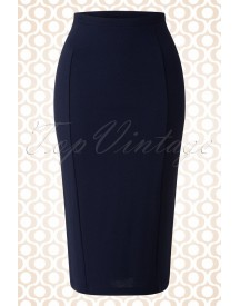 50s Milano Tube Skirt In Dark Navy Crêpe afbeelding