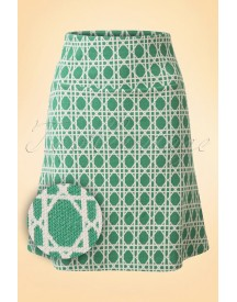 60s Bistro Borderskirt In Oil Green afbeelding