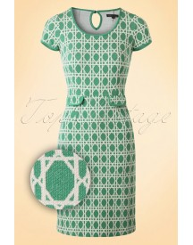 60s Bistro Tulip Dress In Oil Green afbeelding