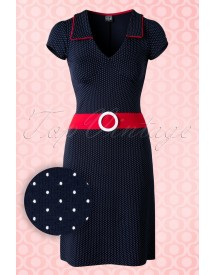 60s Chloe Dots Dress In Navy And Red afbeelding