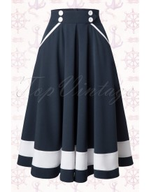 50s Petra Sailor Swing Skirt In Navy afbeelding