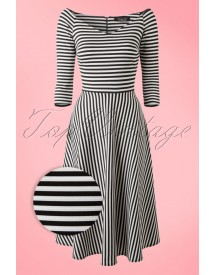50s Alma Swing Dress In Black And White Stripes afbeelding