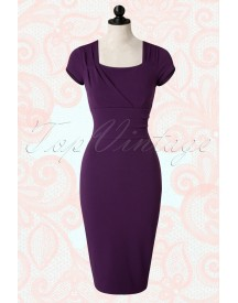 50s Laila Pencil Dress In Aubergine afbeelding
