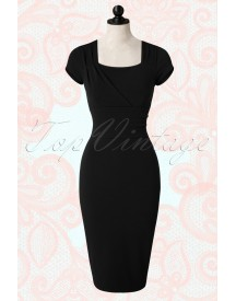 50s Laila Pencil Dress In Black afbeelding