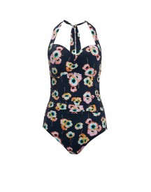 Seafolly Cabana Rose Push-up Halterbadpak Donkerblauw afbeelding